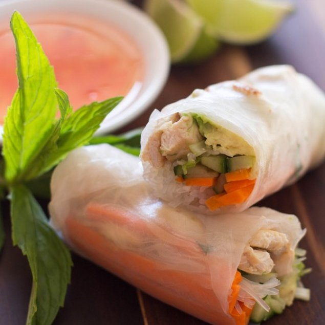 Spicy Chicken Rice Paper Roll ~ Satay Chicken / Carrot / Capsicum / Cucumber / Coriander / Peanut Coconut Sambal / Dry Fried Onion