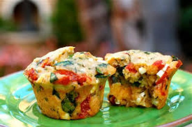 Savoury Muffins / House Made Caramelised Onion / Olives / Seasonal Roast Veg / Pesto