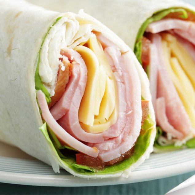 Double Smoked Ham Wrap / Cheddar / Roma Tomato / Mayo / Baby Spinach