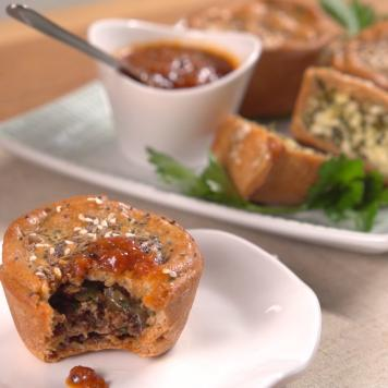 GF - Cocktail Meat Pies - Tomato Relish