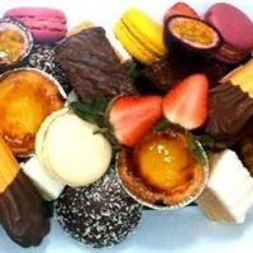 Sweet Bites Platter ~ Chocolate Brownie Bite Squares / GF Passion-fruit Polenta Cake / Orange Poppy Seed Cake / Sweet Tart / Macaroons