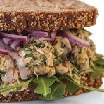 Tuna Sandwich ~ Tuna / Parsley / Capers / Mayonnaise / Pickled Red Onion / Lemon / On Wholemeal