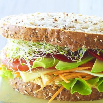 Salad Sandwich ~ Avocado / Tomato / Cucumber / Lettuce / Wholemeal Bread / No Butter / Vegan