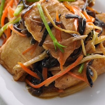 Tofu & Black Mushrooms ~ Julianne Carrots / Chili Sesame Oil Dressing