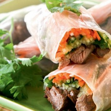 Thai Beef Rice Paper Roll ~ Vermicelli Rice Noodles / Snow Pea / Capsicum / Cucumber / Coriander Mint Lime Dressing