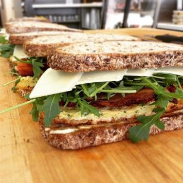 Fillet Beef Sandwich ~ Smoked / Cheddar Cheese / Red Onion / Wholegrain Mustard / Pickles / Lettuce / Tomato Chutney / Multigrain Bread